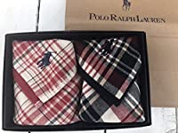 Ralph Lauren ラルフローレン ハンドタオル タオルハンカチ ギフトBOX付きハンドタオル2枚セット (チェックピンクブルー)