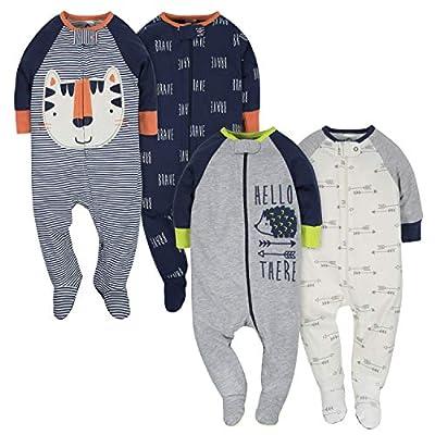Gerber Baby Boys' 4 Pack Sleep 'N Play Footie, Tiger/Hedgehog, 0-3 Months by GERLO