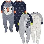 Gerber Clothing Baby Boys' 4-Pack Sleep 'N Play, Tiger/Hedgehog, 3-6 Months