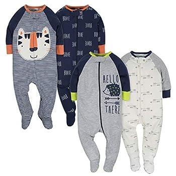 Gerber Baby Boys  4 Pack Sleep  N Play Footie Tiger/Hedgehog 0-3 Months