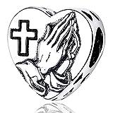 Annmors Abalorios Con Dios Todo es Posible de Plata 925 de Primera Ley Colgantes con Circonita Cúbica para Pulseras