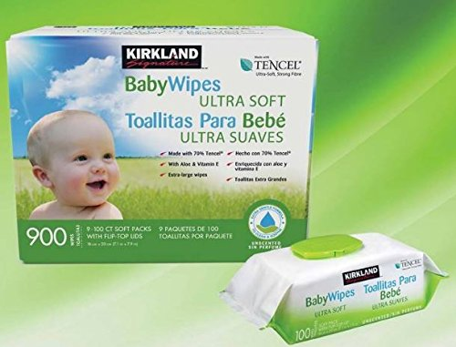 Kirkland Signature Tencel Baby Wipes, 9 x 100 Wipes
