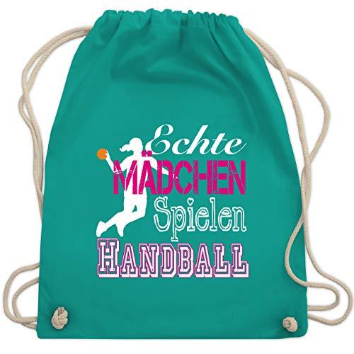 Shirtracer Handball - Echte Mädchen Spielen Handball weiß - Unisize - Türkis - handball trikot mädchen - WM110 - Turnbeutel und Stoffbeutel aus Baumwolle