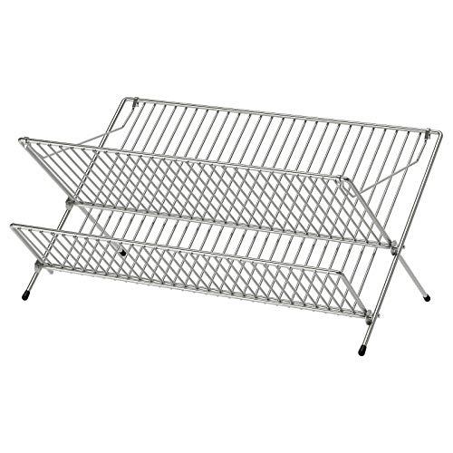 IKEA KVOT - Escurridor de platos galvanizado para cubiertos con bandeja de secado plateada, color plateado