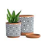 Set of 2, Vintage Design Planter Pot, 4.5 Inch and 6.4 Inch, Pot with Drainage Hole and Saucer, Terracotta/Black, 31-958-E-2