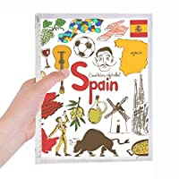 スペインの風景の動物の国旗 硬質プラスチックルーズリーフノートノート