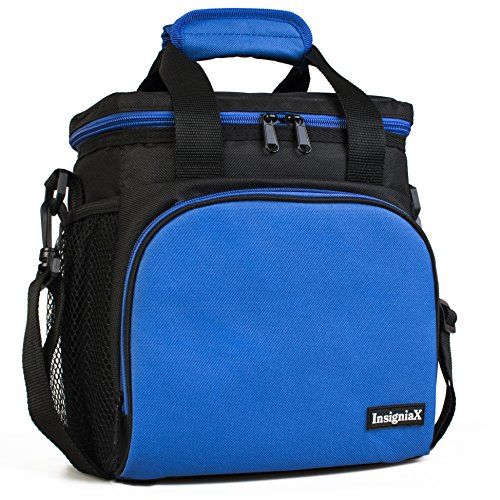 Insulated Lunch Bag S1: InsigniaX Cool Back to School Lunch Box/Cooler/Lunchbox for Adult Women Men Work School Girls Boys With Strap Bottle Holder H: 10 x W: 5.1 x L: 9.2 (Standard, Blue)
