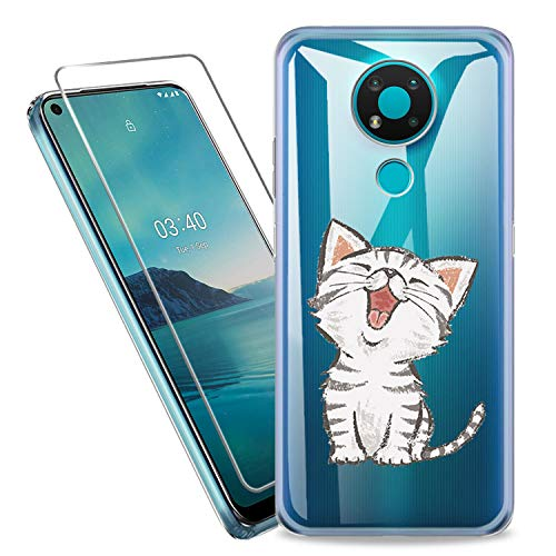 SCDMY Carcasa para Nokia 3.4 Funda + Cristal Templado, Transparente Silicona Case, Fuerte protección de Suave TPU Funda Carcasa Vidrio Templado(6.39')-WM141