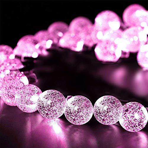 WH Decorativo Catena Luminosa Solare Strisce LED da Esterno - Luminarie Colorate A Globo Impermeabili Fino, 30 LED,Pink