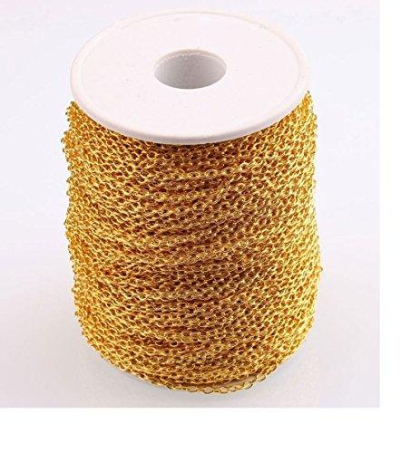 ILOVEDIY 10 Meter Vergoldet Metallkette Gliederkette Kabelkette Link Kette zum Basteln Schmuckherstellung