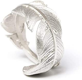 Women Vintage Style Adjustable Leaf Feather Open Ring…