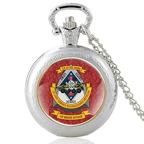 ZDANG USMC 4. leicht gepanzertes Aufklärungsbataillon Quarz Taschenuhr Vintage Anhänger Uhr Uhr Männer Frauen GeschenkeEIN gutes Geschenk