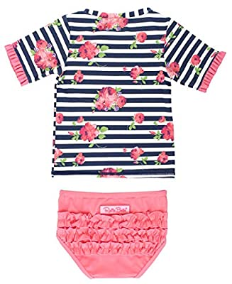 RuffleButts Baby/Toddler Girls Flamingo Beach Mid-Sleeve Rash Guard Bikini - 12-18m