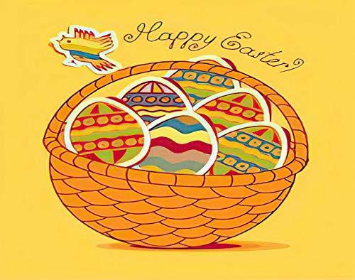 Y·JIANG Pintura de dibujos animados por números, cesta de Pascua con huevos y aves de corral, lienzo acrílico al óleo por números, para adultos y niños, decoración de pared, 40,6 x 50,8 cm
