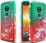 Moto E5 Plus Case/Moto E5 Supra Phone Case w/Screen Protector,Glitter Diamond Cute Hearts Flowing Sparkle,Bling Bling Phone Case Cover for Girls Women - Mint Red