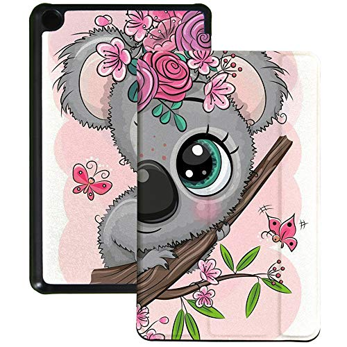 QIYI Slimshell Case Fits All-New Amazon Fire 7 Tablet (9th Generation, 2019 Release) Kids Protective Cover Adjustable Stand Smart Shell for Kindle 7 Inch Tablet - Cartoon Koala with Flowers