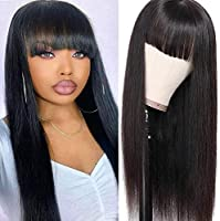 Modoll Hair Straight Human Hair Wigs with Bangs Full Machine Made Wigs Virgin Brazilian None Lace Front Wigs for Black...