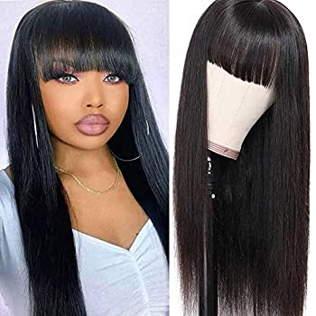 Modoll Hair Straight Human Hair Wigs with Bangs Full Machine Made Wigs Virgin Brazilian None Lace Front Wigs for Black Women Natural Black 150% Density 18inch…
