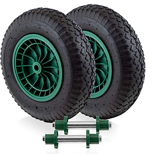 BITUXX Ersatzrad Schubkarrenrad Schubkarre Rad Reifen Luftrad Luftbereifung Felge 4.80/4.00 max 250Kg mit Stahlachse 130mm (2 Räder + 2 Achsen)