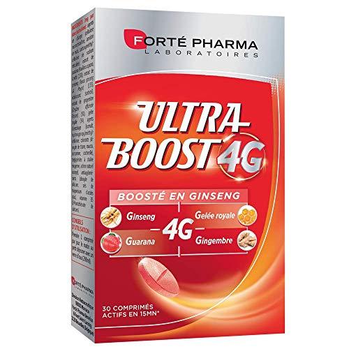 Forté Pharma - Ultra Boost 4G   Complément Alimentaire Booster d'énergie   Ginseng, Guarana, Gelée Royale, Gingembre + Caféine et Acérola   30 comprimés Effervescents