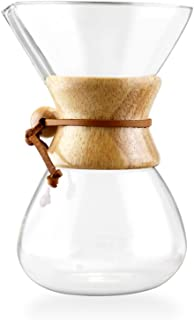 Pour Over Coffee Maker - 5 Cup Classic Glass Design - Borosilicate Glass Carafe