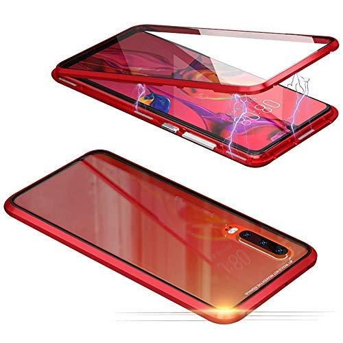 Jonwelsy Hülle für Samsung Galaxy A90 5G, Magnetische Adsorption Metall Stoßstange Flip Cover mit 360 Grad Schutz Doppelte Seiten Transparent Gehärtetes Glas Handyhülle für Samsung A90 (Rot)