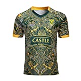 KIND CY Rugby Maillot Nouvelle-Zélande et Afrique du Sud 100e Anniversaire Shirt Hommes Rugby Jersey Casual Survêtements Football Soccer T-Shirt Chemise À Manches Courtes,Green,XL