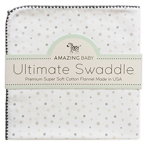 Amazing Baby Ultimate Winter Swaddle, X-Large Receiving Blanket, Made in USA, Premium Cotton Flannel, Playful Dots, Sterling (Moms Choice Award Winner)