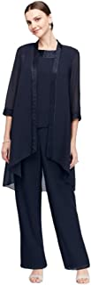 Three-Piece Chiffon Pantsuit with High-Low Jacket Style 24799