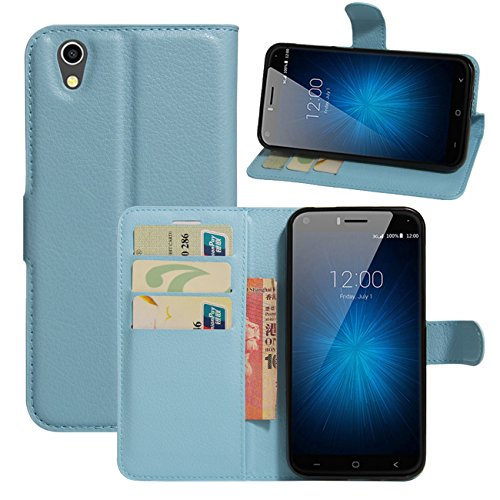 HualuBro UMIDIGI London Hülle, [All Aro& Schutz] Premium PU Leder Leather Wallet Handy Tasche Schutzhülle Hülle Flip Cover mit Karten Slot für UMIDIGI London 5.0 Inch 3G Smartphone (Blau)