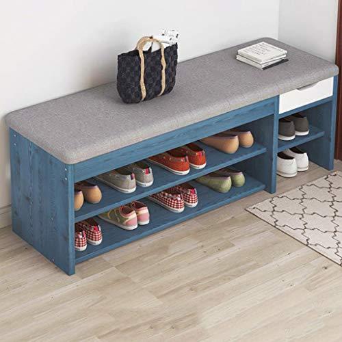 Zapatero 3-Tier Banco zapatero con cojín del asiento, de madera de zapatos Pasillo estante del organizador del almacenaje con cajones, for sala de estar, Puerta de entrada ( Color : C , Size : 90cm )
