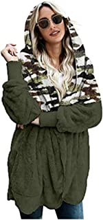 URIBAKE Women Winter Jacket Fashion Plus Size Plush Outwear Leopard Print Splice Plush Pocket Long Warm Coat