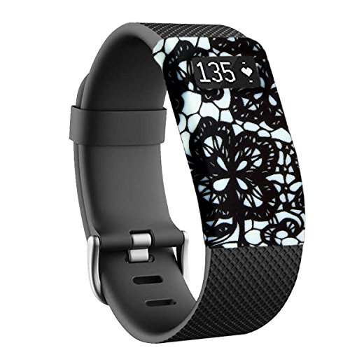 - Boitier de protection pour Fitbit Charge et Charge HR (capteur et bracelet non inclus), fleurs noires