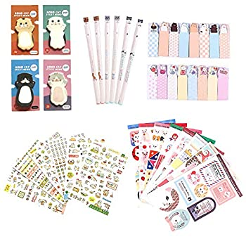 Kawaii School Supplies - Cat Stationery Set 6 Gel Pens 120 Sticky Memos 6 Sticker Sheets & 1 sticker Album 8 Sheets  240 Bookmark Page Flags - Cute Japanese Style Office Supplies- Gift for Girls