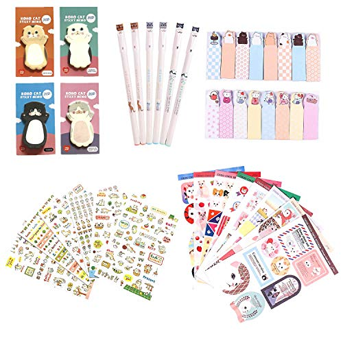 Kawaii School Supplies - Cat Stationery Set, 6 Gel Pens, 120 Sticky Memos, 6 Sticker Sheets & 1 sticker Album(8 Sheets), 240 Bookmark Page Flags - Cute Japanese Style Office Supplies- Gift for Girls