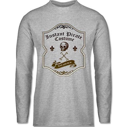 Shirtracer Karneval & Fasching - Instant Pirate Costume - Just add Rum - XXL - Grau meliert - Schnaps - BCTU005 - Herren Langarmshirt
