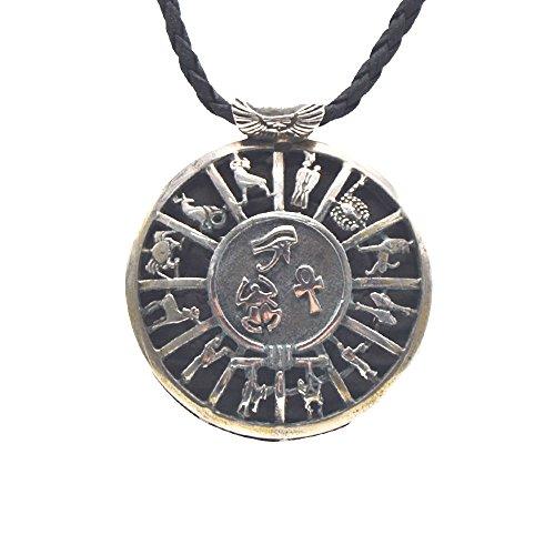 Antikes Silbermedaillon, Amulett des alten Ägypten, Horusauge, ANK Schlüssel des Lebens und Glückskäfer mit den 12 Sternzeichen, misst 4,5 cm Durchmesser und 23 cm Lederband