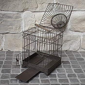 chemin_de_campagne Style Ancienne Cage à Oiseaux en Fer Carré Marron 48 cm x 21 cm x 21 cm