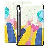 Manos sosteniendo el corazón Símbolo de la Tierra Funda Internacional para Samsung Galaxy S7 para Samsung Galaxy Tab S7 / s7 Plus Funda para Tableta Soporte Funda Trasera Samsung Galaxy Tab S7 Funda