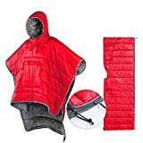Thermal Poncho Wearable Hooded Blanket - Envelope Lightweight Camp Sleeping Bag Cloak Cape Windproof with Premium Stuff Compression Sack for Backpacking Hiking Hunting Fishing Military Outdoor Sport