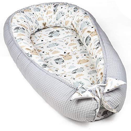 Totsy Baby Nido Bebe Recien Nacido - Reductor de Cuna nidos para Bebes cojin colecho (Piqué gofre Gris y Estampado de Conejito, 90 x 50 cm)