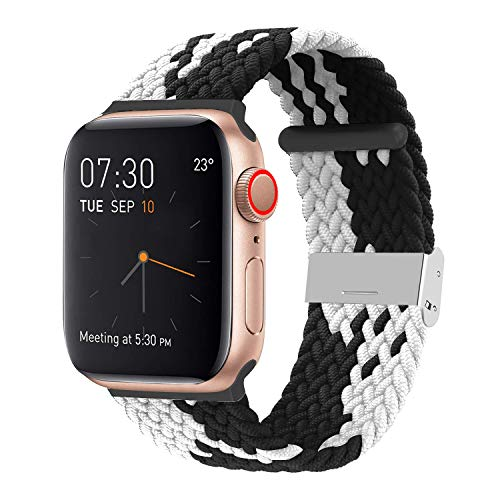 SIXRARI Braided Solo Band Compatible with Apple Watch 38mm 40mm 42mm 44mm, Soft Stretch Loop with Adjustable Buckle Sport Elastics Strap Compatible with iWatch Series SE 6/5/4/3/2/1
