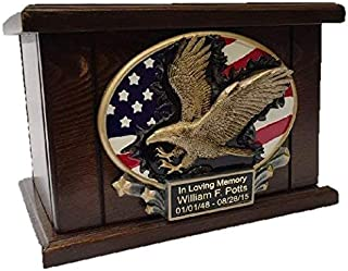 American Flag and Eagle Memorial Funeral Cremation Urn, Adult Wooden Urn- W/personalization