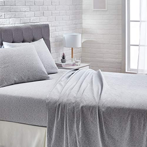 AmazonBasics Super-Soft Cotton Bed Sheet Set - Cal King, Grey Dots
