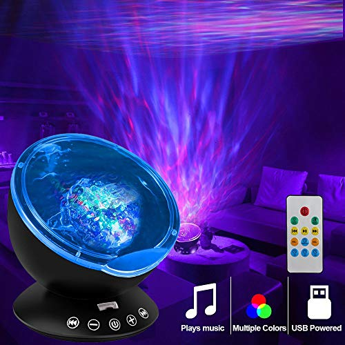 KBAYBO Remote Control Ocean Wave Projector 12 LED &7 Colors Night Light Projector with Built-in Mini Music Player for Living Room and Bedroom (Black)