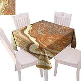 Mantel cuadrado de mármol de poliéster único tono tierra madre tierra elegancia natural travertino exhibición decorativa mesa, 60 x 60 pulgadas canela tierra amarillo