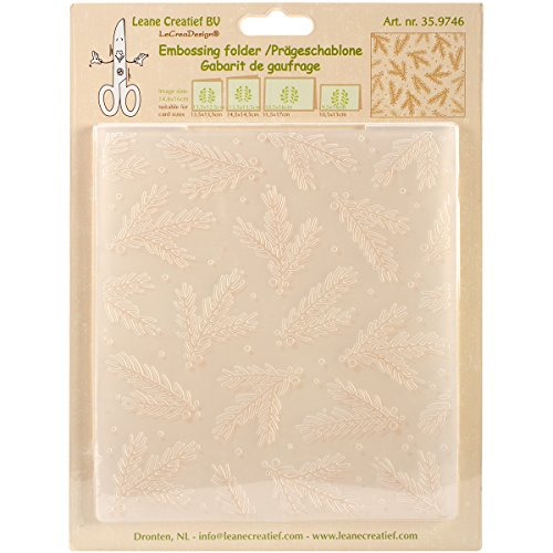"""Leane Creatief Embossing Folder 5.75""""X6.375""""-Christmas Branches Background"""
