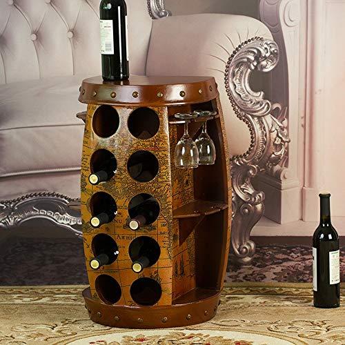 JPL Estante de vino Estante de vino Barril de vino Mesa auxiliar Armario Barril Hecho de madera Barra de bar de vinos