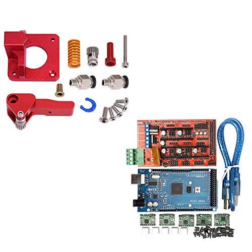 Fauge 3D Printer 2 Sets of Electronic Accessories: 1 Set of Double Pulley Extruder and 1 Set of RAMPS 1.4 Controller