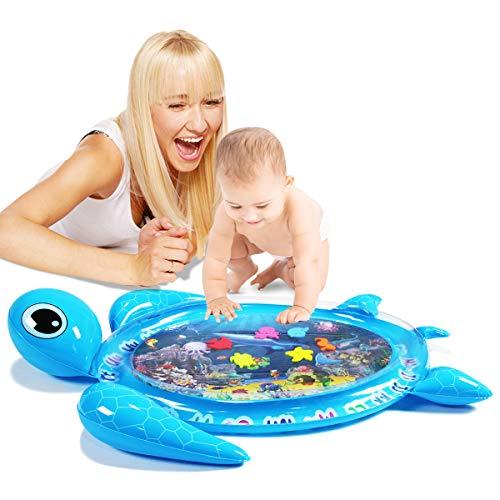 Tummy Time Baby Wasserspielmatte Meeresschildkröte Form Säuglinge & Kleinkinder, Aufblasbare Spielmatte Spielzeug, Bauchwassermatte für Babys sensorische Entwicklung und Stimulation Wachstum